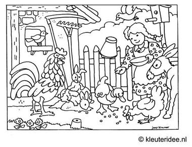 kleurplaat kinderboerderij, kleuteridee.nl .