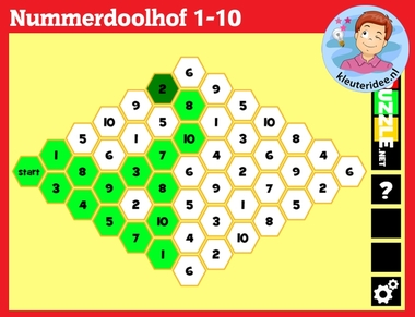Getalkennis met kleuters op digibord of computer op kleuteridee.nl, Kindergarten number game for IBW or computer