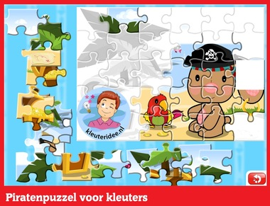 Piratenpuzzel voor kleuters op digibord of computer op kleuteridee.nl