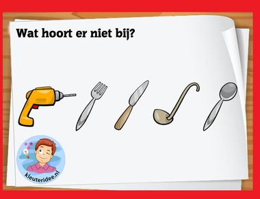 Wat hoort ern niet bij voor kleuters op digibord of computer op kleuteridee.nl, Kindergarten math game for IBW or computer