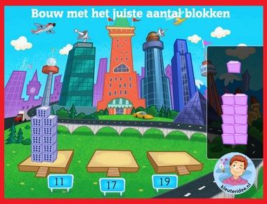 Bouw met het juiste aantal blokken met kleuters op digibord of computer op kleuteridee.nl, Kindergarten math game for IBW or computer