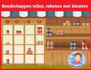 Boodschappen tellen met kleuters op digibord of computer op kleuteridee.nl, Kindergarten math game for IBW or computer