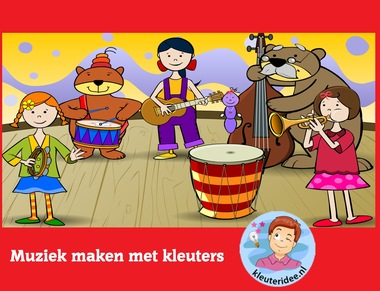 Muziek maken met kleuters op digibord of computer op kleuteridee.nl - Kindergarten educative game for IBW or computer