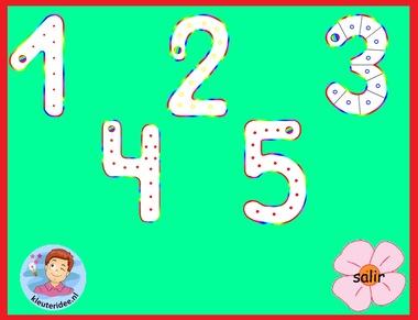 Schrijfrichting van de getallen 1-5 met kleuters voor kleuters op digibord of computer op kleuteridee.nl
