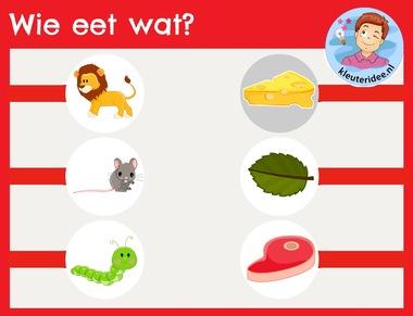 Wat eet elk dier, interactief spel voor kleuters op het digibord