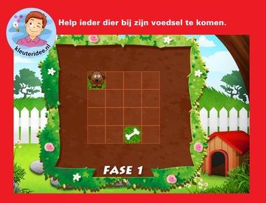 Help ieder dier bij zijn voedsel te komen, voor digibord of IWB op kleuteridee.nl