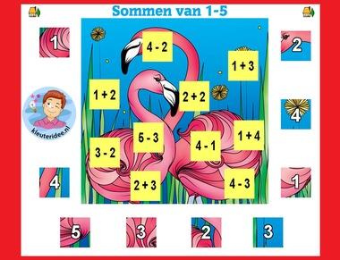 Sommen 0 - 5 met zelfcontrole puzzel , met kleuters op digibord of computer op kleuteridee.nl