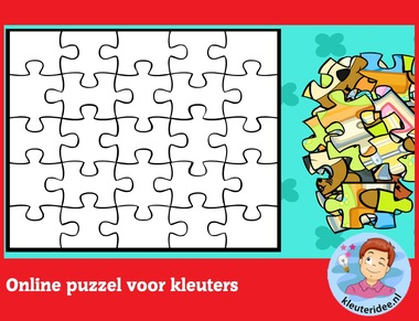 Online puzzel voor kleuters op digibord of computer op kleuteridee.nl - Kindergarten educative game for IBW or computer