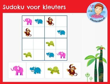 Sudoku voor kleuters, kleuteridee, interactief spel rekenen digibord