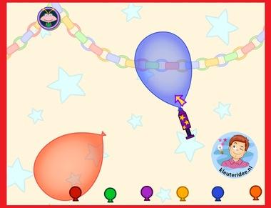 Ballonnen opblazen met kleuters op digibord of computer op kleuteridee.nl