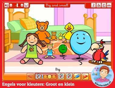 Engels voor kleuters, big and small, kleuters op digibord of computer op kleuteridee.nl