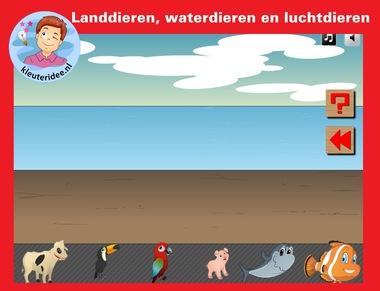 Is het dier een alnddier, een waterdier of een luchtdier, voor digibord of IWB op kleuteridee.nl