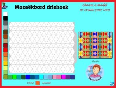 Mozaïekbord driehoek met kleuters op digibord of computer op kleuteridee.nl