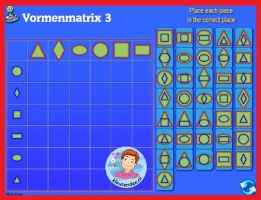 Vormenmatrix 3 met kleuters op digibord of computer op kleuteridee.nl