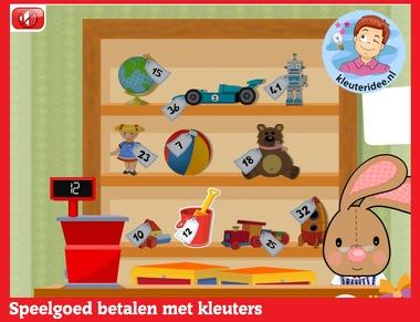 Betalen oefenen met hoogbegaafde kleuters op digibord of computer op kleuteridee.nl