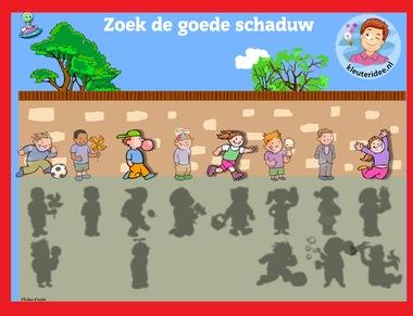 Zoek de goede schaduw 2 met kleuters op digibord of computer op kleuteridee.nl