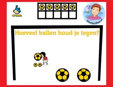 Hoeveel ballen houd je tegen, met kleuters op digibord of computer op kleuteridee.nl, Kindergarten math game for IBW or computer