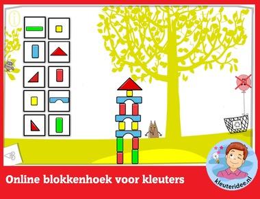 Online blokkenhoek voor kleuters, rekenen met digibord of computer op kleuteridee.nl