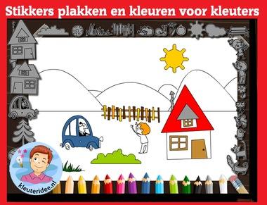 Stikkers plakken en kleuren met kleuters op digibord of computer op kleuteridee.nl, Kindergarten, educative games for IBW or computer