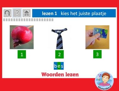 Woorden lezen met kleuters op digibord of computer op kleuteridee.nl, Kindergarten abc game for IBW or computer