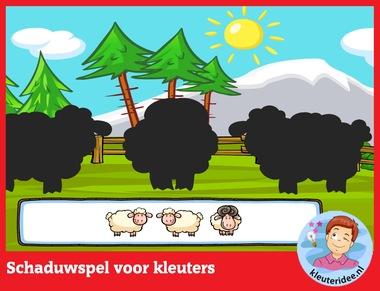 Schaduwspel voor kleuters op digibord of computer op kleuteridee.nl - Kindergarten educative game for IBW or computer