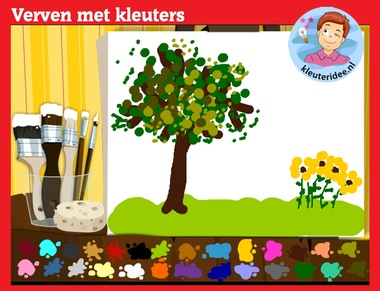 Verven met kleuters op digibord of computer op kleuteridee.nl, Kindergarten, educative games for IBW or computer
