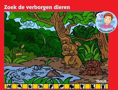 Zoek de verborgen dieren met kleuters op digibord of computer op kleuteridee.nl, Kindergarten math game for IBW or computer