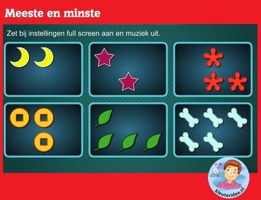 Meeste minste met kleuters op digibord of computer op kleuteridee.nl, Kindergarten math game for IBW or computer