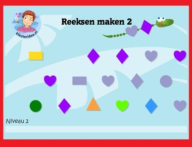 Reeksen maken met de reeksenrups 2 met kleuters op digibord of computer op kleuteridee.nl