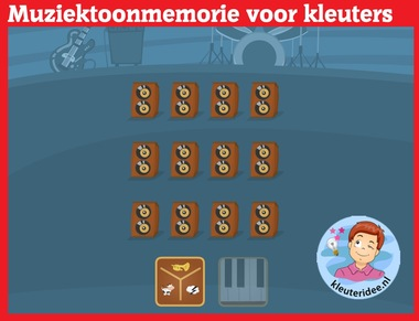 Muziektoonmemorie voor kleuters op digibord of computer op kleuteridee.nl, Kindergarten educative music memory games for IBW or computer