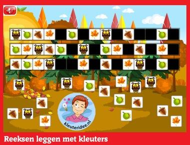 Reeksen leggen 3 met kleuters op digibord of computer op kleuteridee.nl