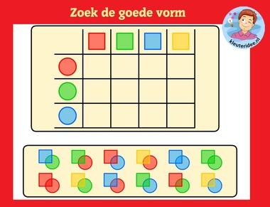 Vormenmatrix 4 met kleuters op digibord of computer op kleuteridee.nl