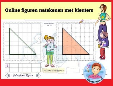 Figuren natekenen met kleuters, rekenen met digibord of computer op kleuteridee.nl