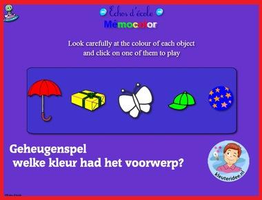 Geheugenspel kleur met kleuters op digibord of computer op kleuteridee.nl