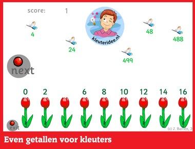 Even getallen met kleuters op digibord of computer op kleuteridee.nl - Kindergarten educative math game for IBW or computer