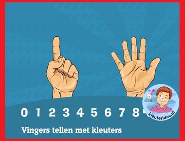 Vingers tellen met kleuters op digibord of computer op kleuteridee.nl - Kindergarten math for IBW or computer