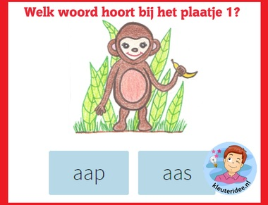Welk woord hoort bij het plaatje (1) , taal voor kleuters op digibord of computer op kleuteridee.nl
