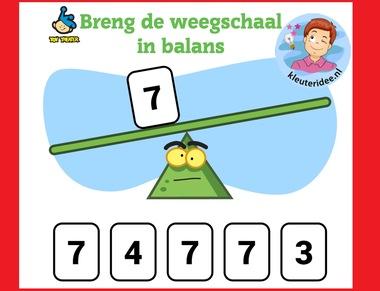 Breng de weegschaal in balans met kleuters op digibord of computer op kleuteridee.nl, Kindergarten math weight game for IBW or computer