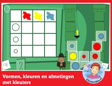 Vormen, kleuren en afmetingen met kleuters, rekenen met digibord of computer op kleuteridee.nl