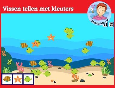 Vissen tellen met kleuters op digibord of computer op kleuteridee.nl, Kindergarten math game for IWB or computer