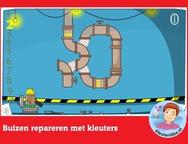 Buizen repareren met kleuters, rekenen met digibord of computer op kleuteridee.nl