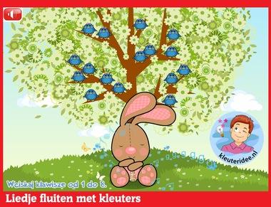 Liedje fluiten met kleuters op digibord of computer op kleuteridee.nl