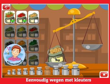 Eenvoudig wegen met kleuters op digibord of computer op kleuteridee.nl