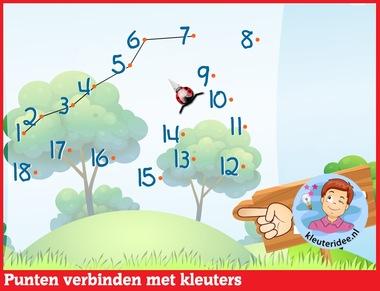 Punten verbinden met kleuters op digibord of computer op kleuteridee.nl - Kindergarten online block area for IBW or computer