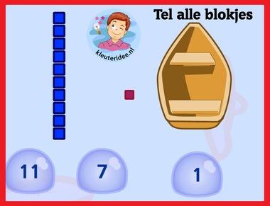 Tel alle blokjes met kleuters op digibord of computer op kleuteridee.nl, Kindergarten math game for IBW or computer