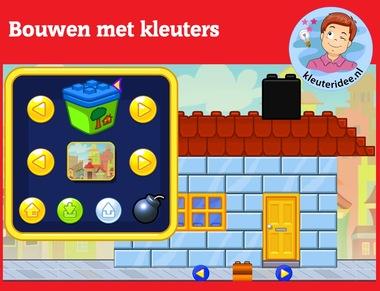 Bouwen met kleuters op digibord of computer op kleuteridee.nl, Kindergarten brick building game for IBW or computer