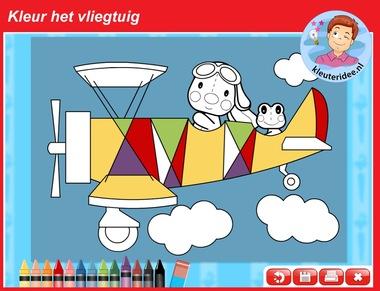 kleur het vliegtuig online voor kleuters voor digibord of computer, kleuteridee