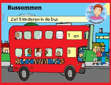 Bussommen met kleuters op digibord of computer op kleuteridee.nl, Kindergarten math game for IBW or computer