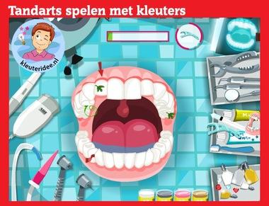 Tandarts spelen met kleuters op digibord of computer op kleuteridee.nl, Kindergarten, educative games for IBW or computer