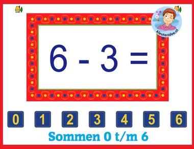 Sommen 0 - 6 , met kleuters op digibord of computer op kleuteridee.nl